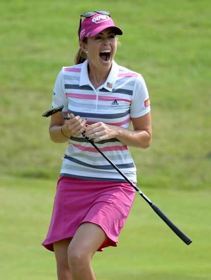 Paula Creamer celebrates making a 75-foot eagle putt on the second playoff  hole to beat Azahara Munoz, winning her first LPGA title since the 2010  U.S. ...
