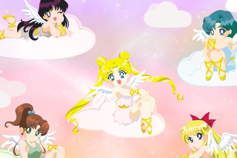 Preview wallpaper sailor moon, girls, clouds, smiles, angels, wings  3840x2160