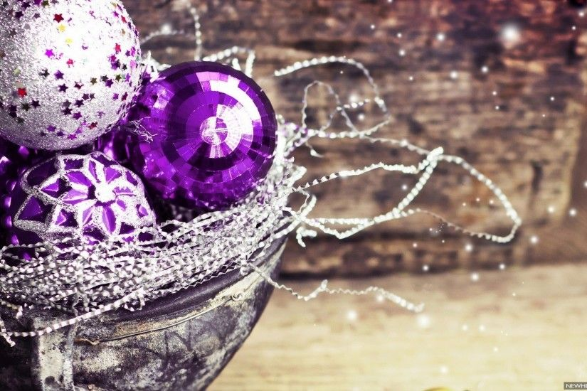 Christmas Decorations Purple Ball HD Wallpaper