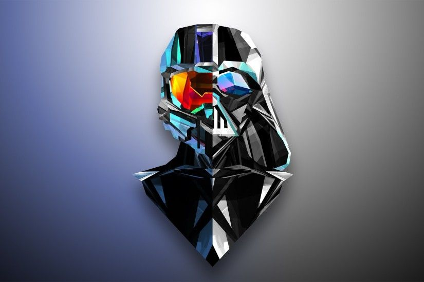 abstract, Darth Vader, Master Chief, Low Poly, Justin Maller, Halo Wallpapers  HD / Desktop and Mobile Backgrounds