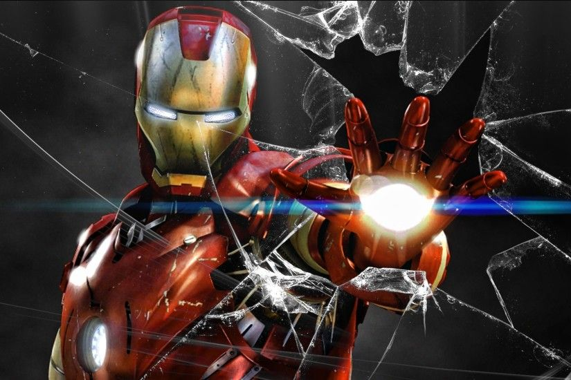 Screen Wallpapers Iron Man Window Cracked.
