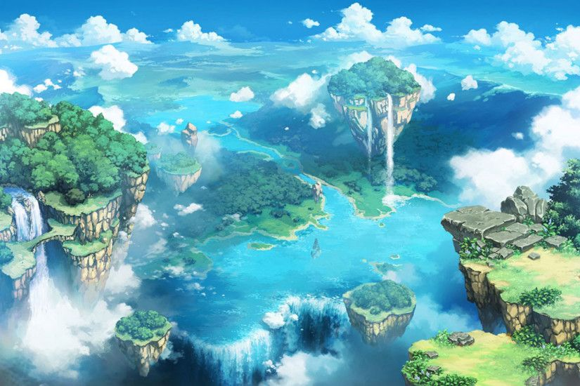 Comics desktop background of the blue sky and white clouds fairy tale  landscape wallpaper