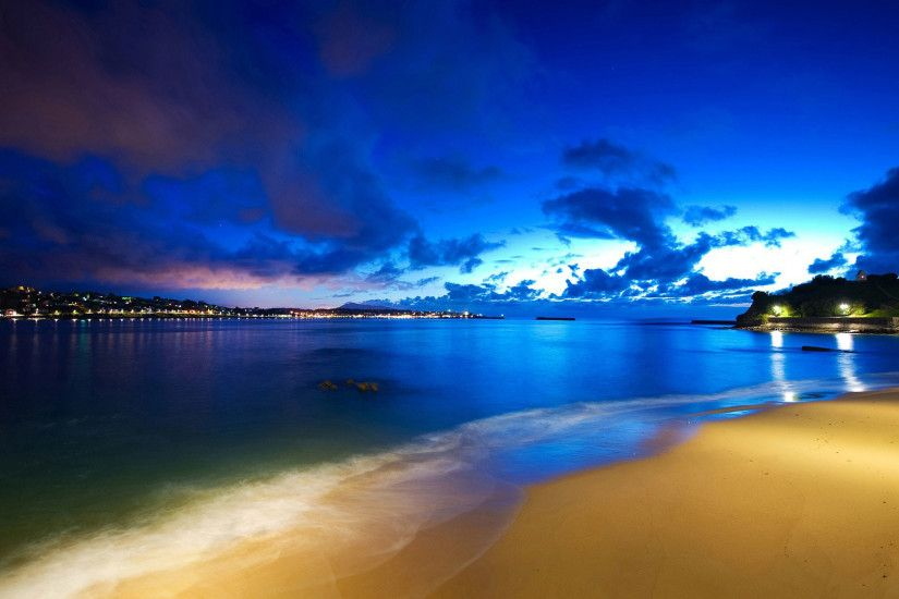 hd pics photos attractive beach blue night sea city lights stunning hd  quality desktop background wallpaper