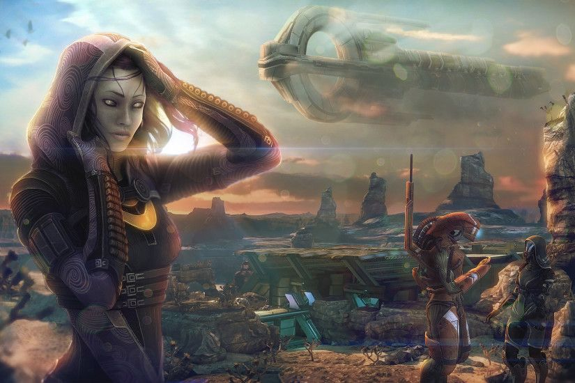 Wallpaper Tali Zorah Mass Effect Aliens vas Normandy Space Girls Games  Ships Hood headgear 1920x1080