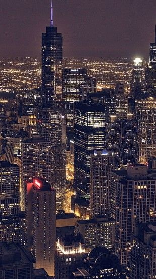 Chicago City Aertial View Night iPhone 6 Plus HD Wallpaper