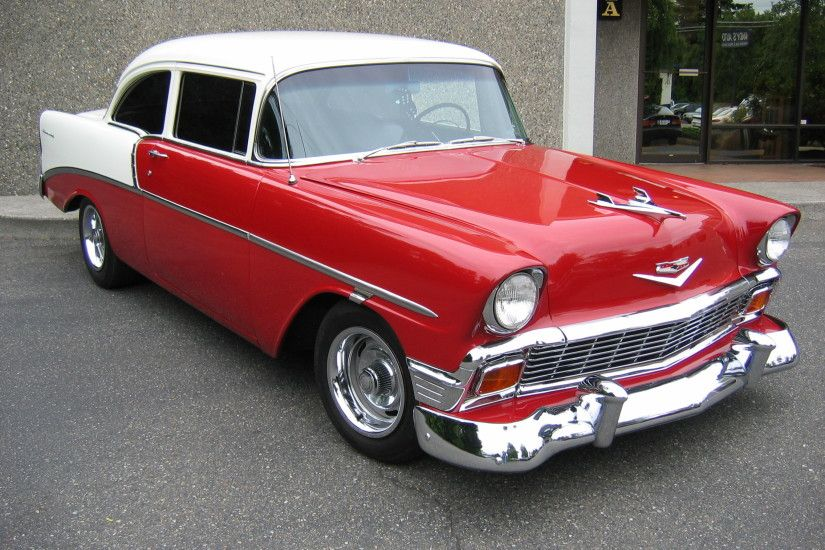 HD 1956 Chevy Red & White Wallpaper | Download Free - 127662