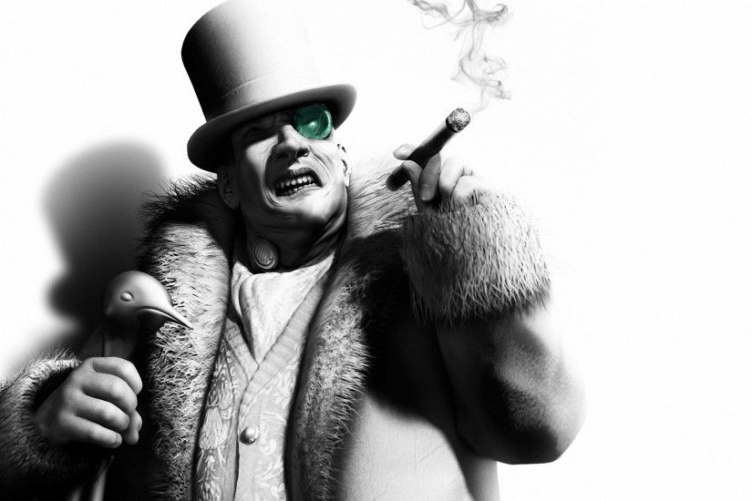 Wallpaper Batman arkham city, Penguin, Character, Cigar, Black and white HD,  Picture, Image