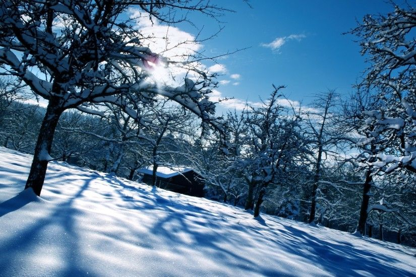 Clouds landscapes winter season snow sun trees forest houses wallpaper