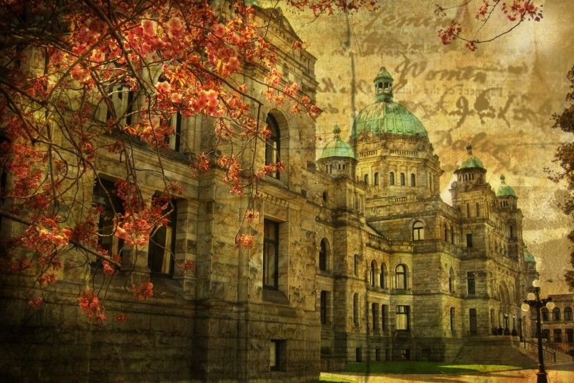 British Columbia Parliament Buildings Vintage. Desktop wallpapers for free.