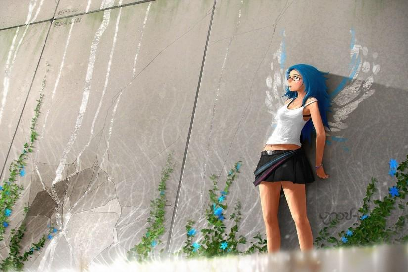 Blue Haired Nerdy Girl Wallpaper