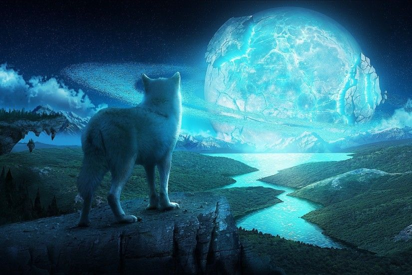 Art Wolf Night Planet Fantasy fantasy landscape wolves wallpaper |  3293x1752 | 122214 | WallpaperUP