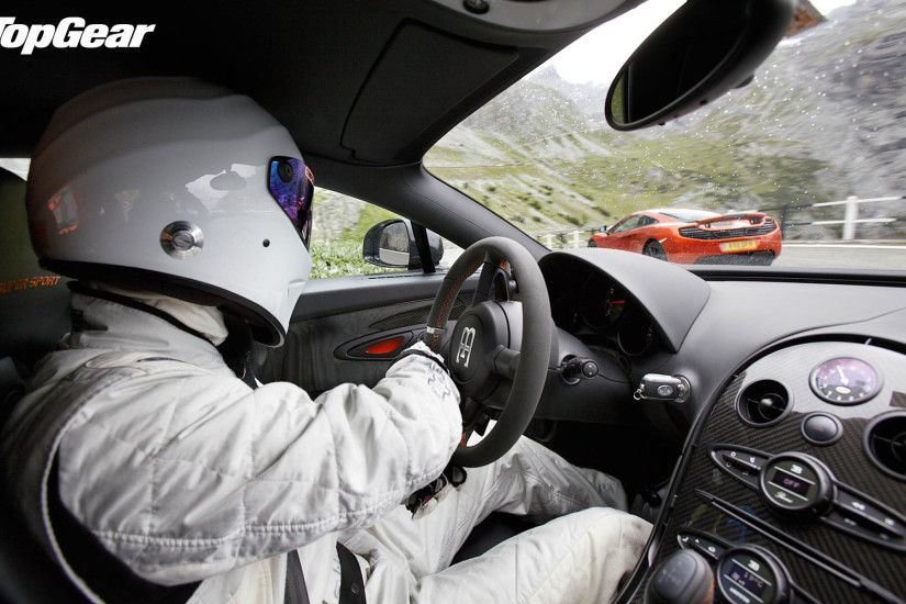 Top Gear Supercars: The Stig driving Bugatti Veyron VS McLaren 12C  1920x1200 wallpaper