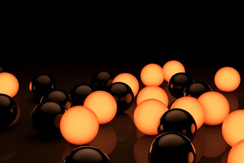 Black and Orange Bubbles in Wallpaper 3D