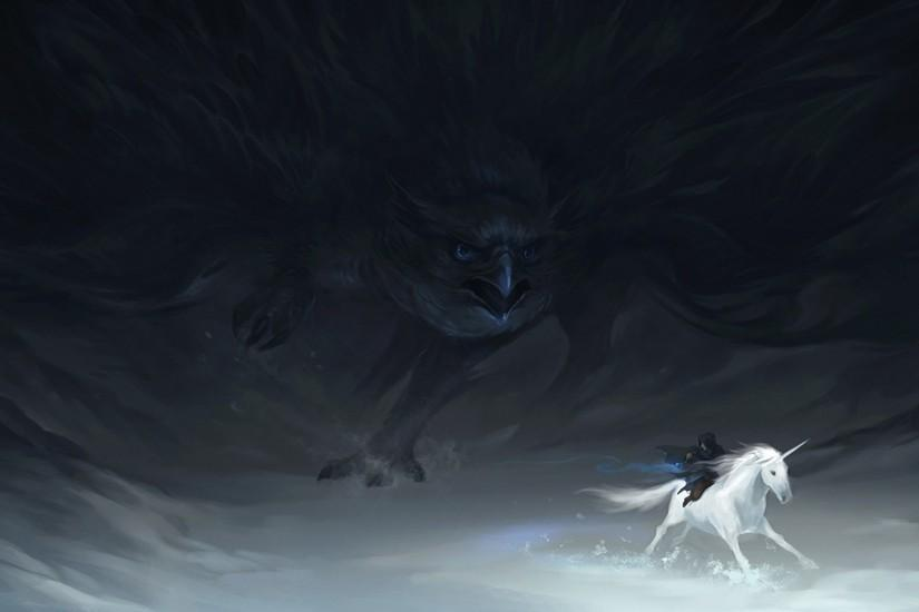 Preview wallpaper pursuit, unicorn, hunting, hawk, beings 1920x1080