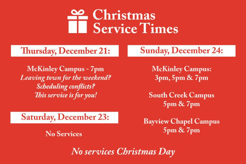 Please note: Childcare for all Christmas Services will be birth through age  5. School-age children will join us in services.