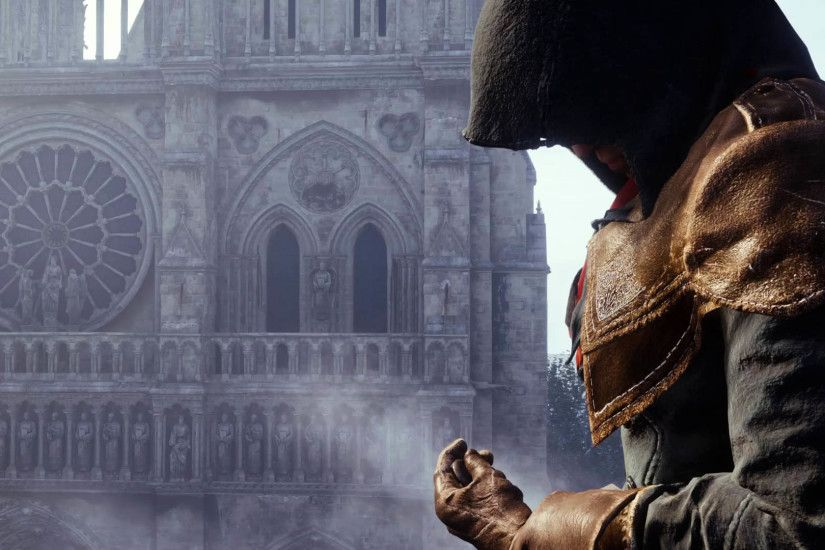 Arno Dorian in front of the Cathedral of Notre-Dame de Paris, Assassin's  Creed