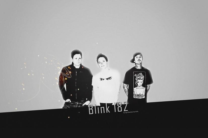 Preview wallpaper blink-182, background, letters, spots, silhouettes  1920x1080