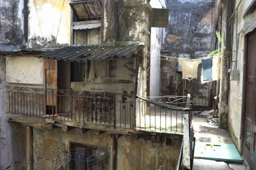 Inside the courtyard of old battered dirty house in a slum into ghetto  downtown at Havana Stock Video Footage - VideoBlocks