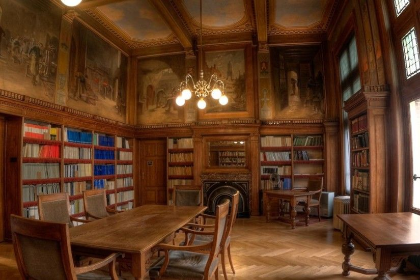 3840x1200 Wallpaper library, style, table, books, wooden