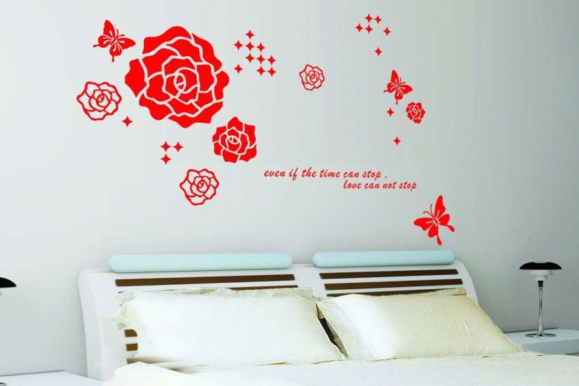 50*70cm Red Rose Wallpaper Mural Poster Vintage Flower Wall Sticker  Butterfly Removable Wall Stickers Home Decor Living Room