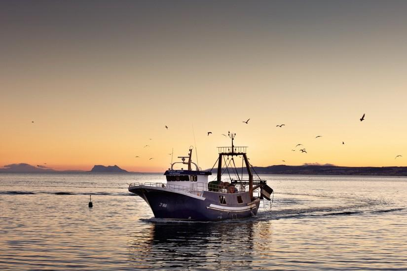 A Fishing Boat Returning Home HD Desktop Background