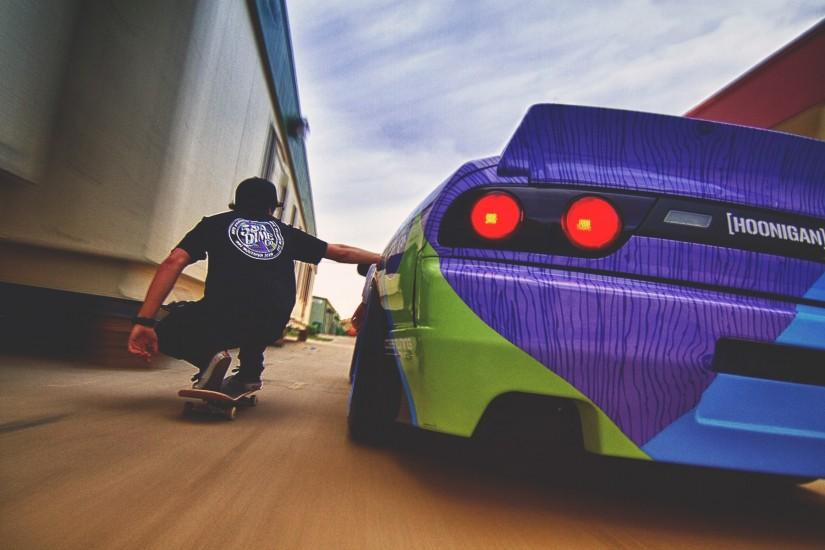 car, Skateboard Wallpaper HD