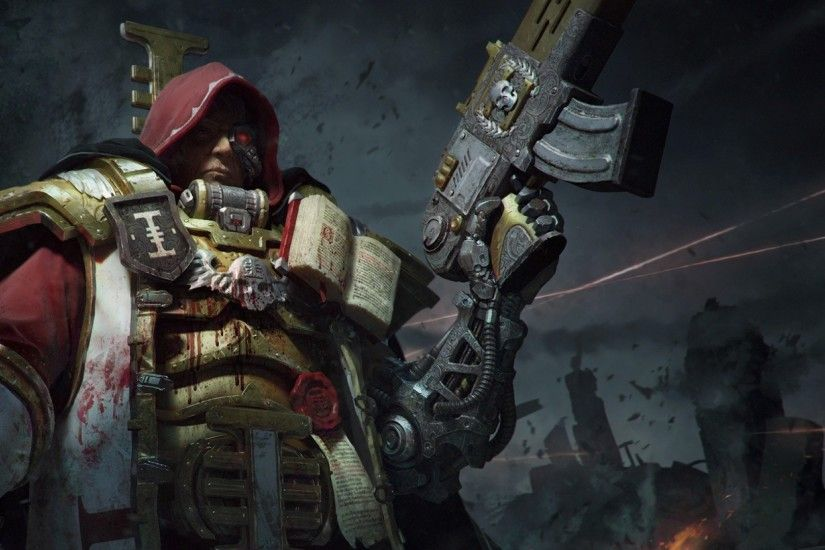 Preview wallpaper warhammer, inquisition, warrior, armor, weapons 2560x1080