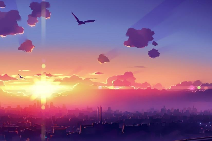 Amazing sunset above the city wallpaper - Anime wallpapers - #41068