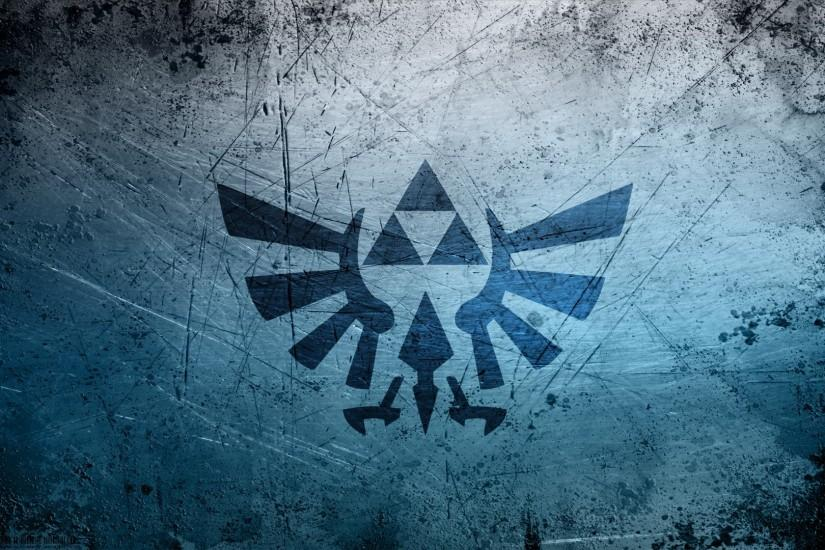 video games blue grunge metal triforce The Legend of Zelda logos Hyrule  Crest / Wallpaper