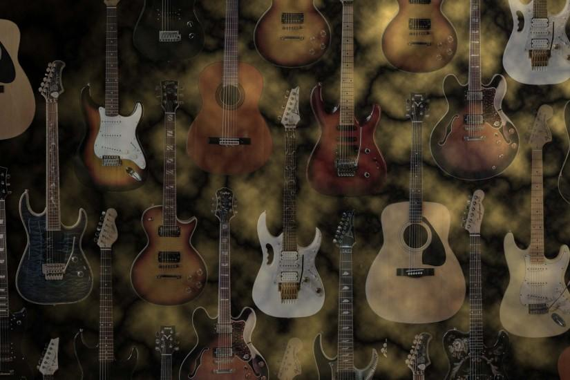 Widescreen wallpaper, acoustic and electric guitars