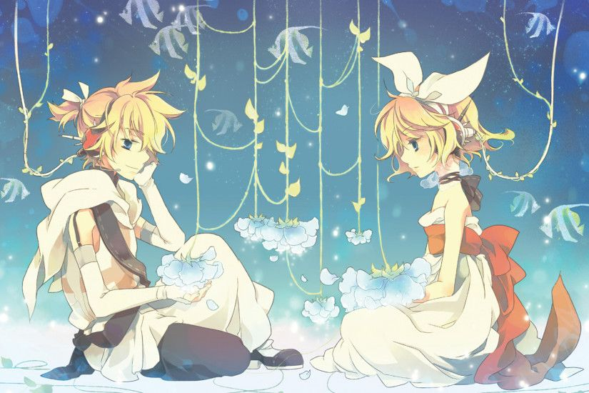 Kagamine Rin, Kagamine Len, Vocaloid, Blonde, Dress, Ribbons