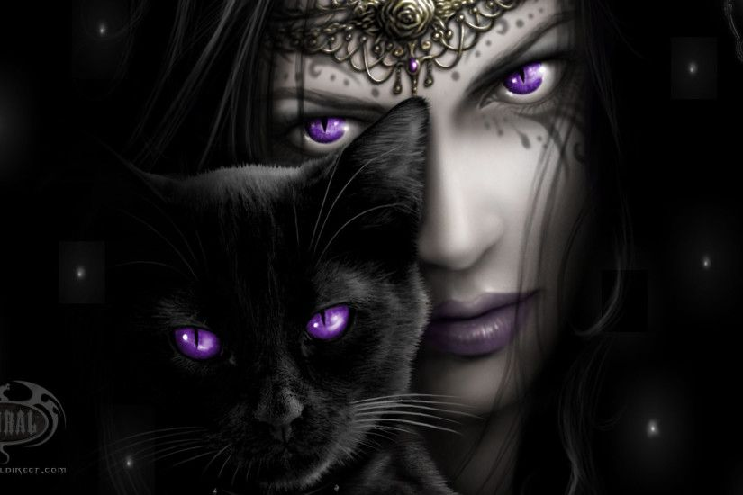 Cats Wallpapers Art With A Nice Girl And Black Cat Both Purple Eyes  Wallpaper I wish I had purple eyes. Or at least blue.
