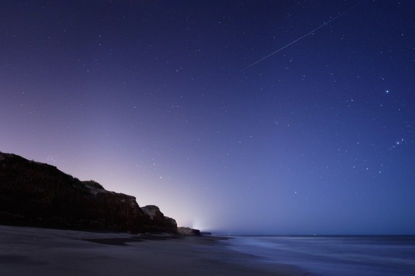 Wallpaper Stars, Night, Twilight, The sky, Falling, The sea, The rock