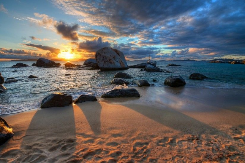 nature, Sunset, Sea, Clouds, Beach, Stones, Shadow, HDR Wallpapers HD /  Desktop and Mobile Backgrounds