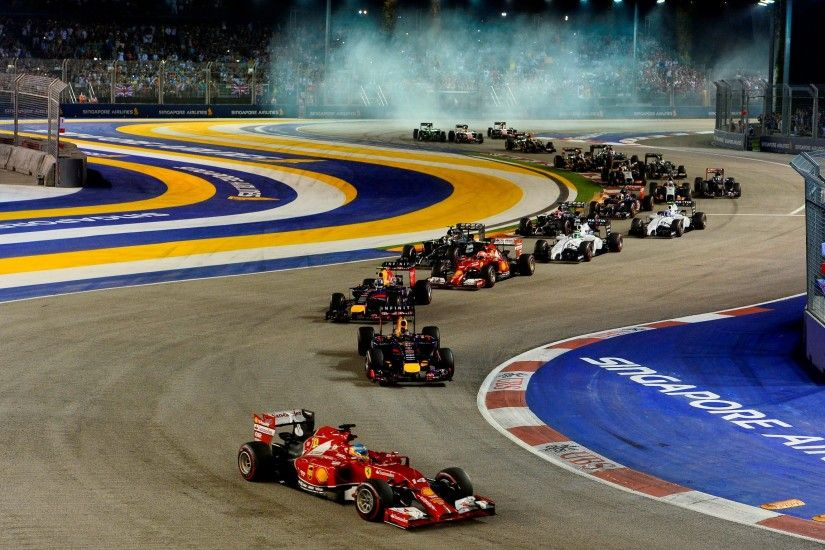 Start of the 2014 Singapore F1 GP Alonso being 2nd ...