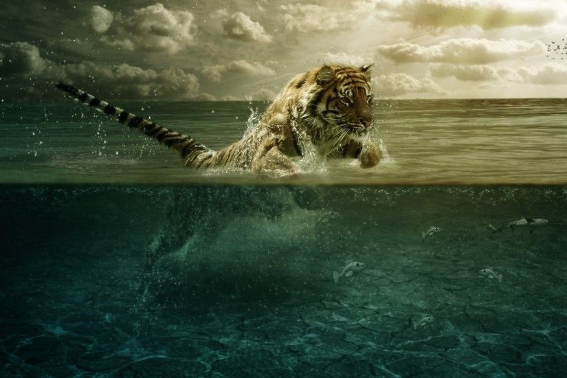 Preview wallpaper tiger, jump, sea, underwater, hunting 1920x1080