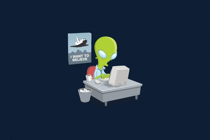 simple Background, Digital Art, Aliens, Computer, Table, Humor, The X Files,  Trash, Alternate Reality, Cup, Minimalism, Blue Background Wallpaper HD