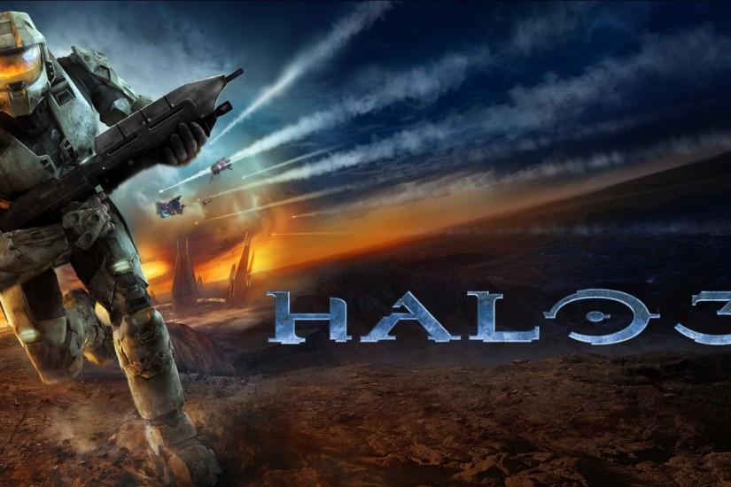 2048x1152 Wallpaper halo 3, soldier, run, sky, explosion