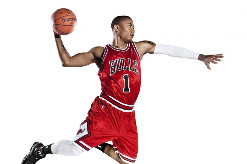 Preview wallpaper chicago bulls, slam dunk, basketball, nba, derrick rose  2560x1440