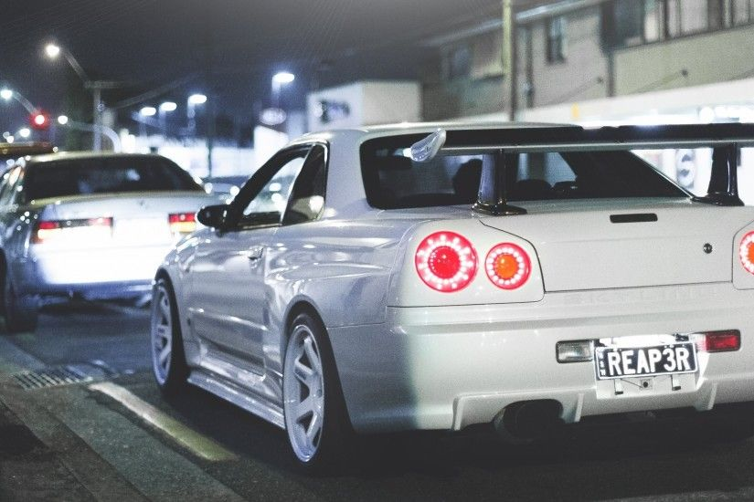 Preview wallpaper nissan, skyline, r34, gt-r, rear view 2560x1080