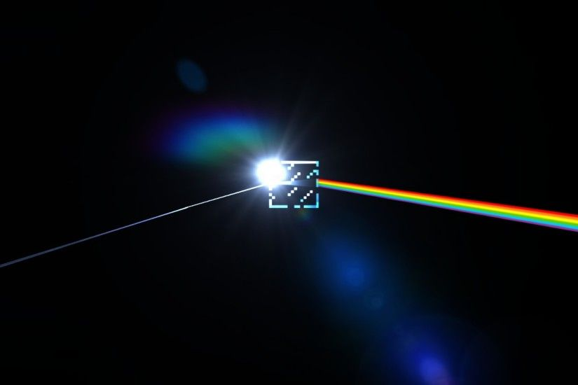 Minecraft and Pink Floyd Dark Side of the Moon wallpaper
