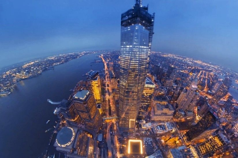 Skyscrapers - Fish Eye View Freedom Tower Nyc City Twilight World Trade  Center Architecture Buildings River