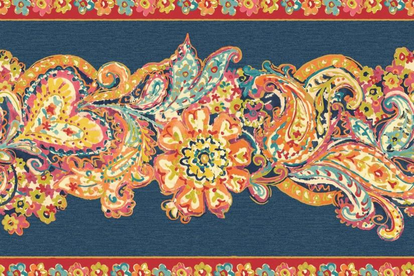 Mountain Wallcovering Paisley & Petals Border Red Multi Search Results .