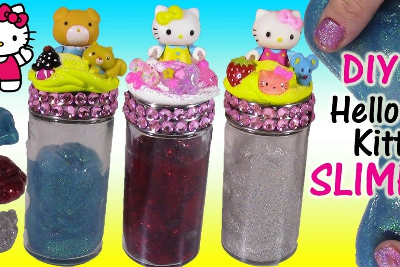 DIY HELLO KITTY SUPER STRETCHY Glitter SLIME! Make Your Own Sparkly Putty!  Decorate Cute JARS! - YouTube