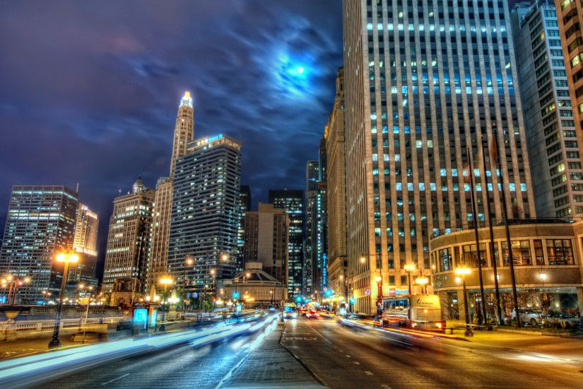 Downtown Chicago Night Wallpaper 18666