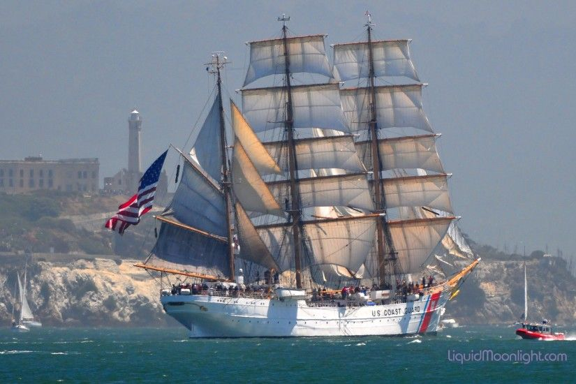 United-States-Coast-Guard-Barque-Eagle-Alcatraz-Lighthouse-