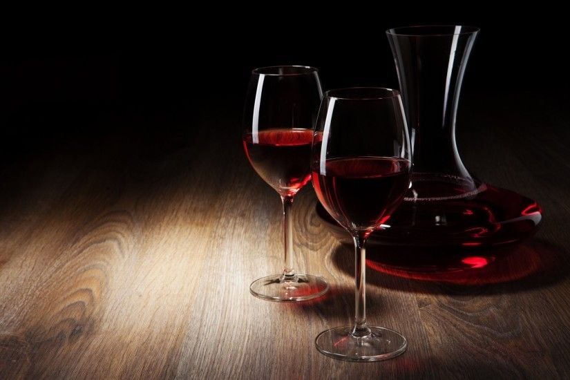 wine red glass glasses decanter table black background