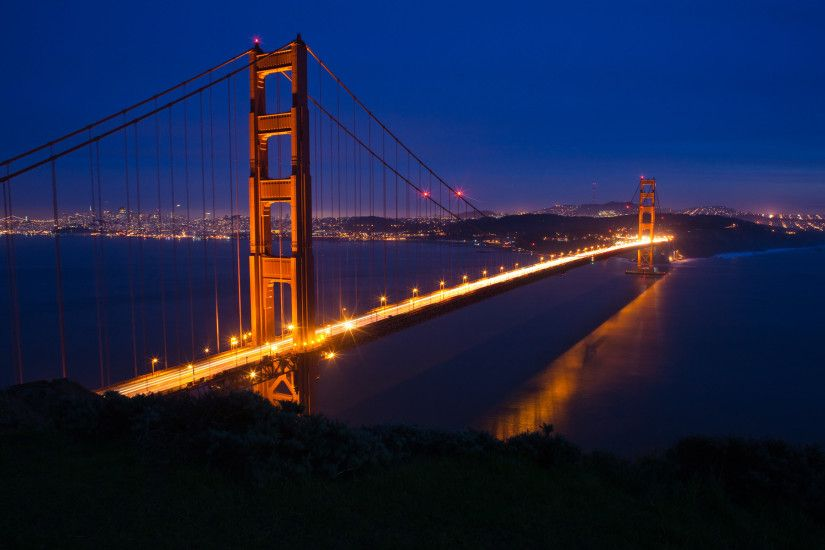Golden Gate Bridge At Night Moon