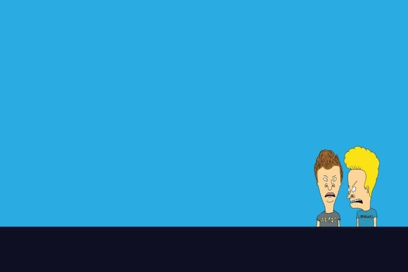 beavis and butthead beavis and butt-head view the band blue background  minimalism