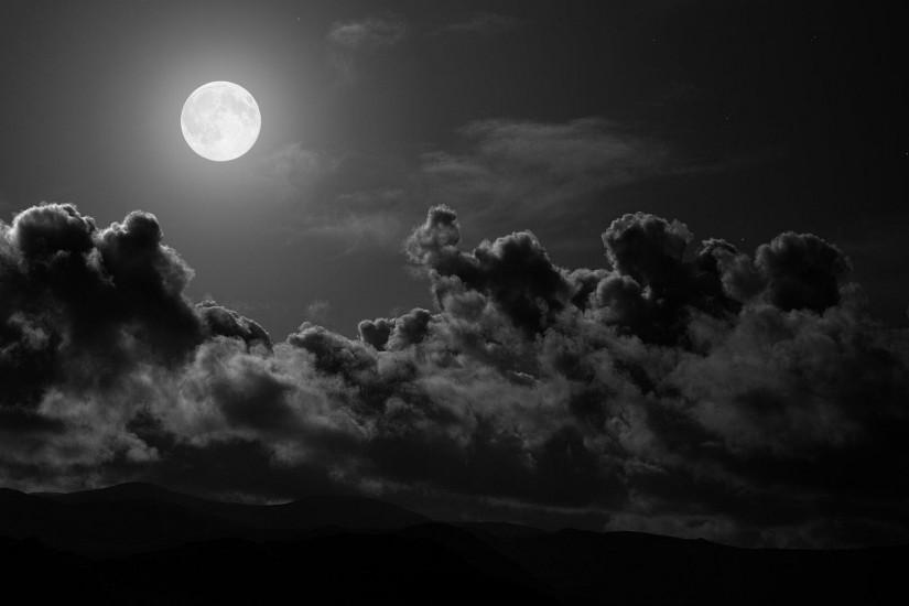 Preview wallpaper moon, clouds, sky, black-and-white 1920x1080